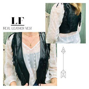 LF Real Leather Fringe Vest